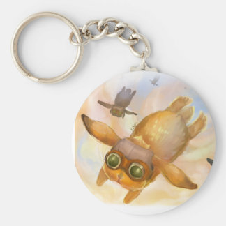 Bunny fly fly fly basic round button key ring