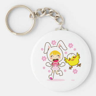 Bunny Girl And Little Chick Key Ring