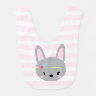 Bunny Girl baby bib pink stripes and polka dots