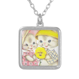 Bunny Girl+Boy Silver Plated Necklace