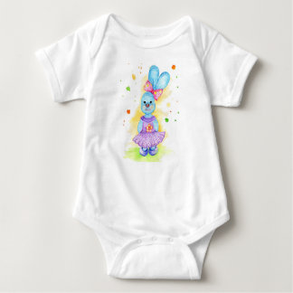 Bunny girl funny drawing watercolor baby bodysuit