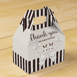 Bunny Girl Twins Classic Kids Birthday Thank You Favour Box