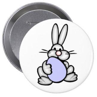 Bunny holding Lavender Blue Egg Pinback Buttons