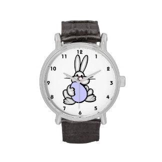 Bunny holding Lavender Blue Egg Wrist Watch
