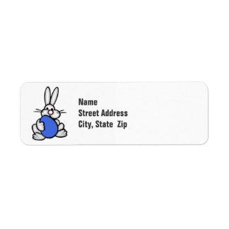 Bunny holding Royal Blue Egg Return Address Label