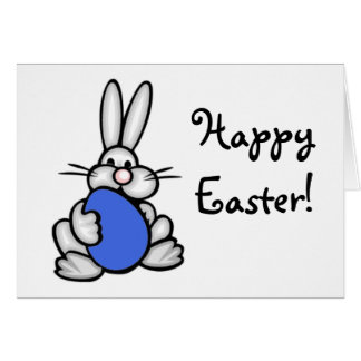 Bunny holding Royal Blue Egg Note Card