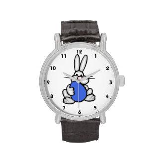 Bunny holding Royal Blue Egg Wristwatch
