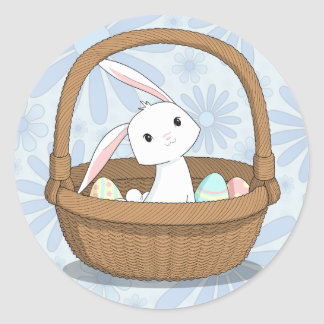 Bunny in a Basket Easter Stickers