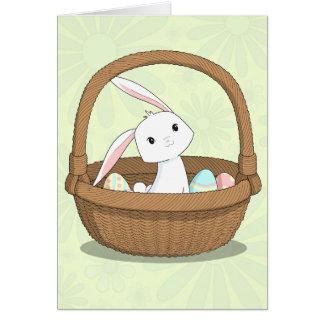 Bunny in a Basket Happy Easter Card