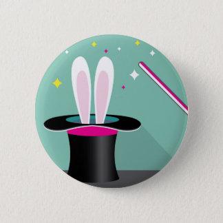 Bunny in a hat magic 6 cm round badge