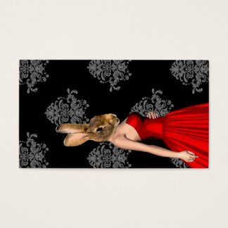 Bunny in red dress business card
