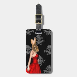 Bunny in red dress tags for luggage