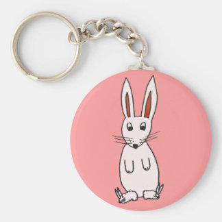 Bunny in Slippers Basic Round Button Key Ring