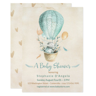 Bunny in Teal Blue Hot Air Balloon Baby Shower Card