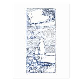 Bunny in Wheelbarrow Sees Farmer Postcard