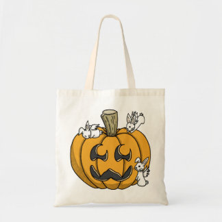 Bunny infested pumpkin candy bag