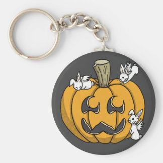 Bunny infested pumpkin keyring - BLACK Key Chain