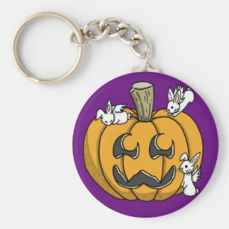Bunny infested pumpkin keyring - PURPLE Keychains