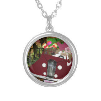 Bunny is carrying Easter eggs. Silver Plated Necklace