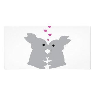 bunny kiss icon photo card template
