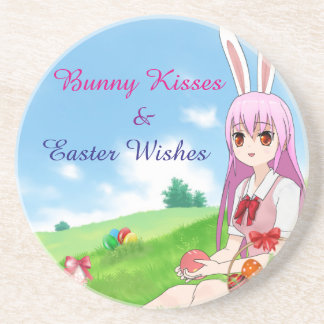 Bunny Kisses & Easter Wishes (Customizable) Coaster