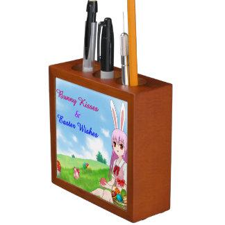 Bunny Kisses & Easter Wishes (Customizable) Desk Organiser