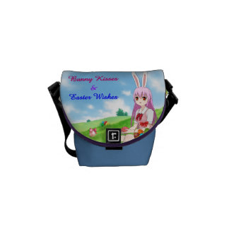 Bunny Kisses & Easter Wishes (Customizable) Messenger Bags