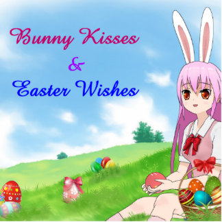Bunny Kisses & Easter Wishes (Customizable) Photo Sculpture Key Ring