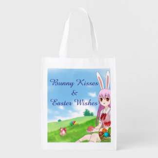 Bunny Kisses & Easter Wishes (Customizable) Reusable Grocery Bag