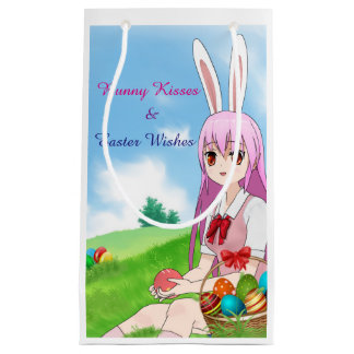 Bunny Kisses & Easter Wishes (Customizable) Small Gift Bag