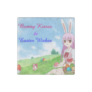 Bunny Kisses & Easter Wishes (Customizable) Stone Magnet