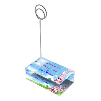 Bunny Kisses & Easter Wishes (Customizable) Table Card Holder