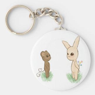 Bunny Love Basic Round Button Key Ring