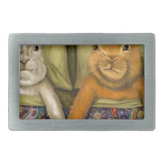 Bunny Love Rectangular Belt Buckle