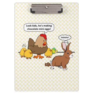 Bunny makes chocolate poop funny cartoon clipboard