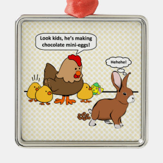 Bunny makes chocolate poop funny cartoon Silver-Colored square decoration