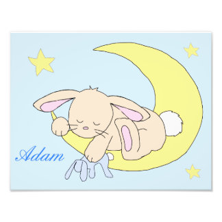 Bunny Moon Star Woodland Animal Nursery Wall Art