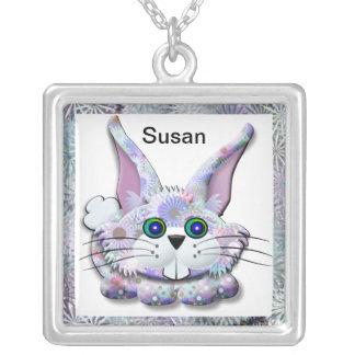 Bunny Necklace Square Pendant Necklace