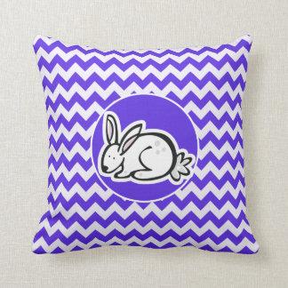 Bunny on Blue Violet Chevron Cushion