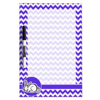 Bunny on Blue Violet Chevron Dry-Erase Whiteboards
