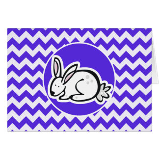Bunny on Blue Violet Chevron Greeting Card