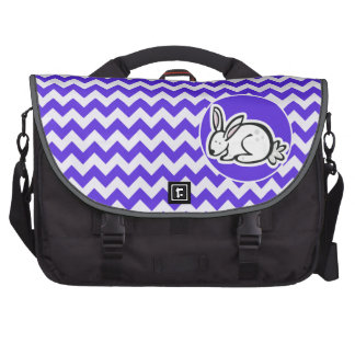 Bunny on Blue Violet Chevron Bags For Laptop