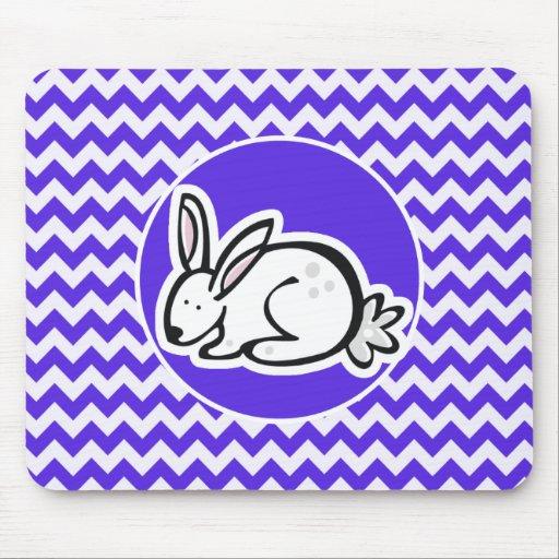 Bunny on Blue Violet Chevron Mousepads