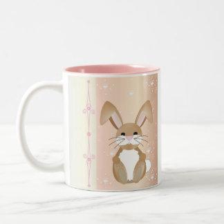 Bunny on pink mugs