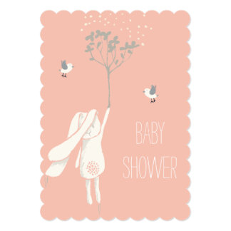 Bunny On The Breeze Baby Shower Card