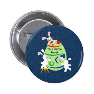 bunny painting egg 6 cm round badge