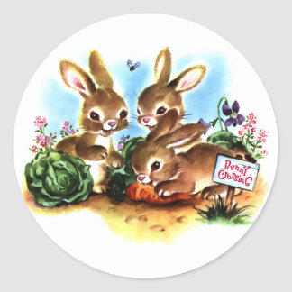 Bunny Patch Round Sticker