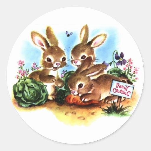 Bunny Patch Round Stickers