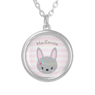 Bunny personalized Silver Plated Round Necklace