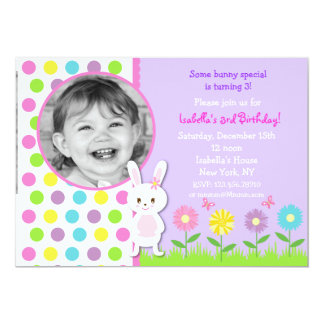 Bunny Photo Birthday Party Invitations